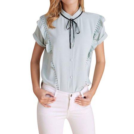 Ruffle Collar Blouse - ZXZY Women Short Sleeve Stand Collar Ruffle Trim Crochet Cutout Shirts Blouse