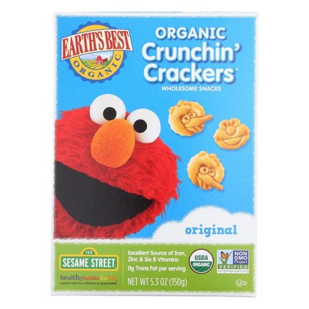 Earth's Best Organic Original Sesame Street Crunchin' Crackers - Pack of 6 - 5.3