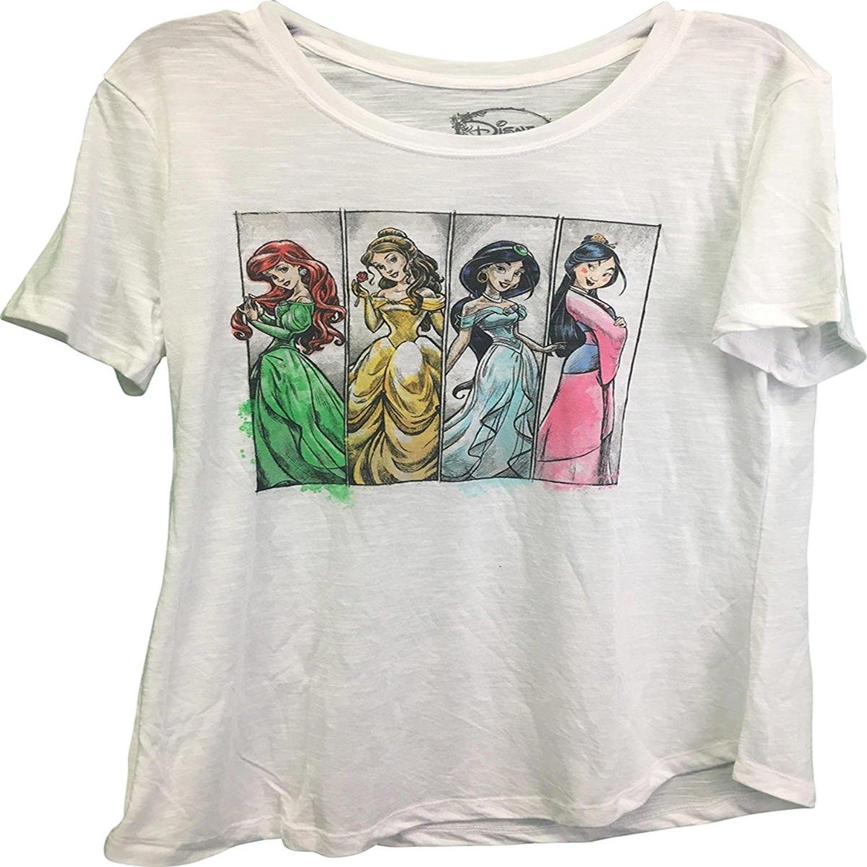 Disney Princesses Ariel Belle Mulan Jasmine Juniors T-Shirt
