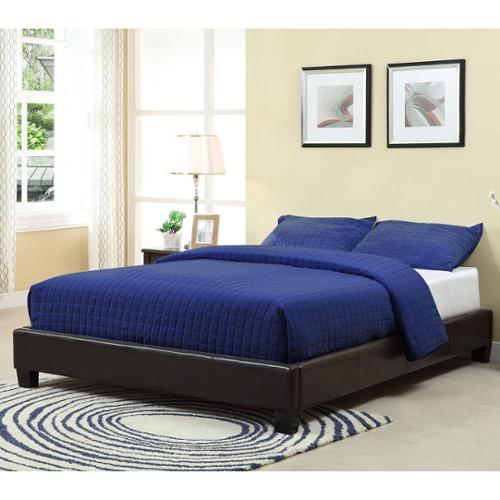 Basic Chocolate Upholstered Platform Bed Twin