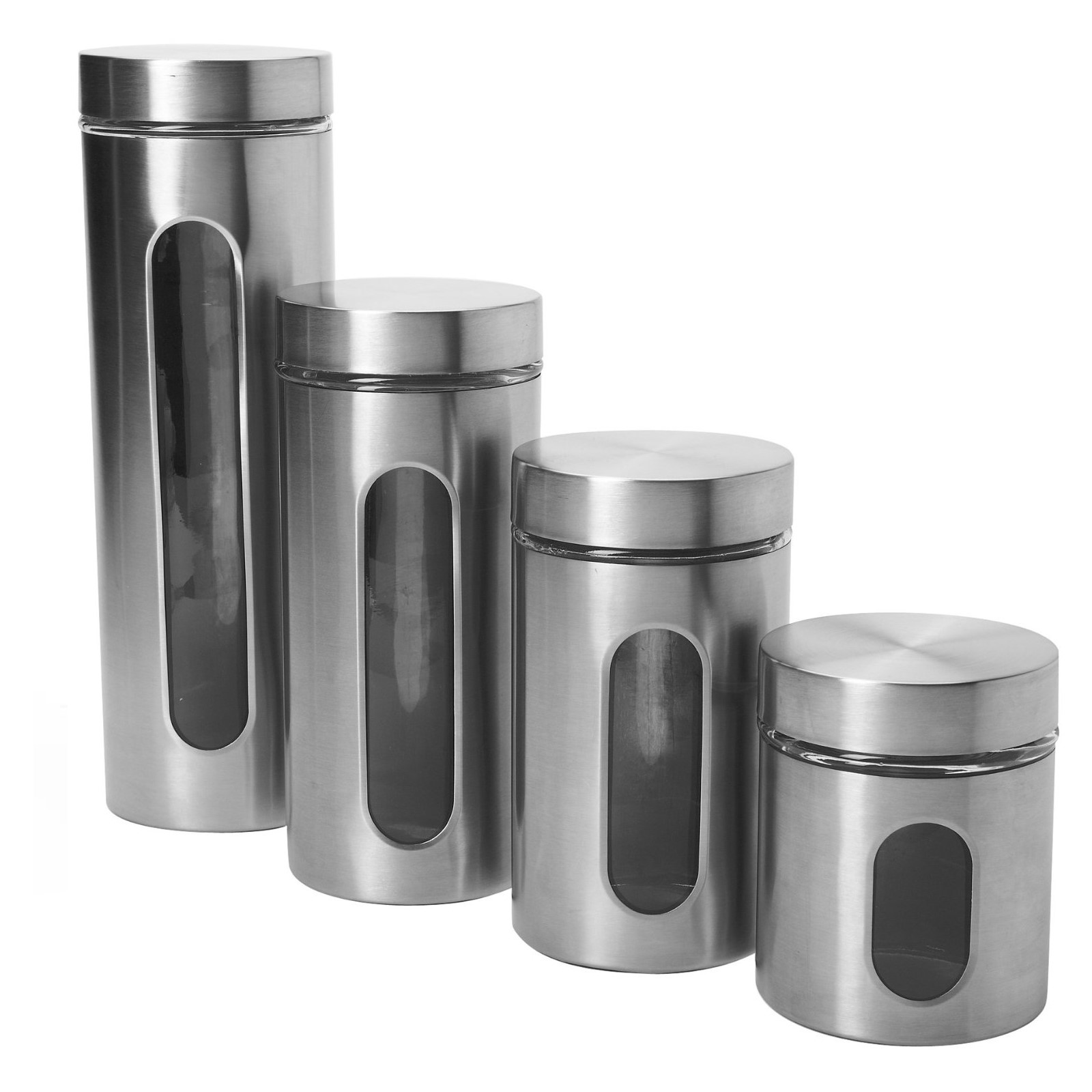 Anchor Hocking Food Canisters 4-Piece Palladian Window Set in Stainless Steel 97564A