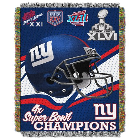 "New York Giants NFL Super Bowl Commemorative Woven Tapestry Throw (48""x60"") by"