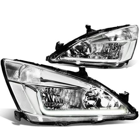 For 03-07 Honda Accord LED DRL Light Bar Headlight Chrome Housing Clear Corner Headlamp 04 05 06 (97 Honda Accord Right Headlight)