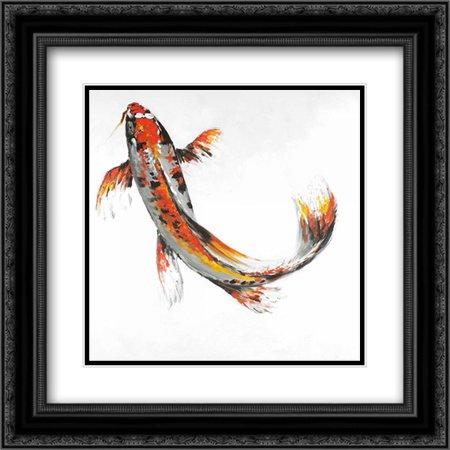 Butterfly Koi Fish 2x Matted 20x20 Black Ornate Framed Art Print by Atelier B Art