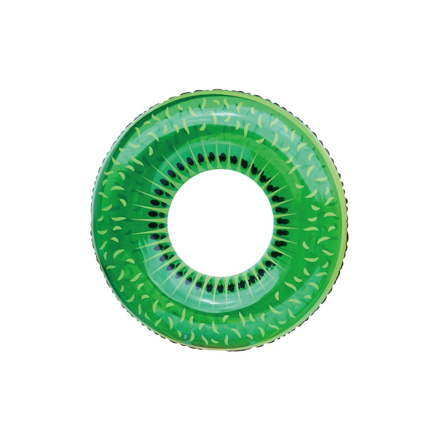 "42"" Green and Black Kiwi Fruit Inflatable Swimming Pool Inner Tube Ring Float"