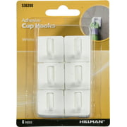 Hillman Adhesive White Plastic Cup Hooks 6 Pack