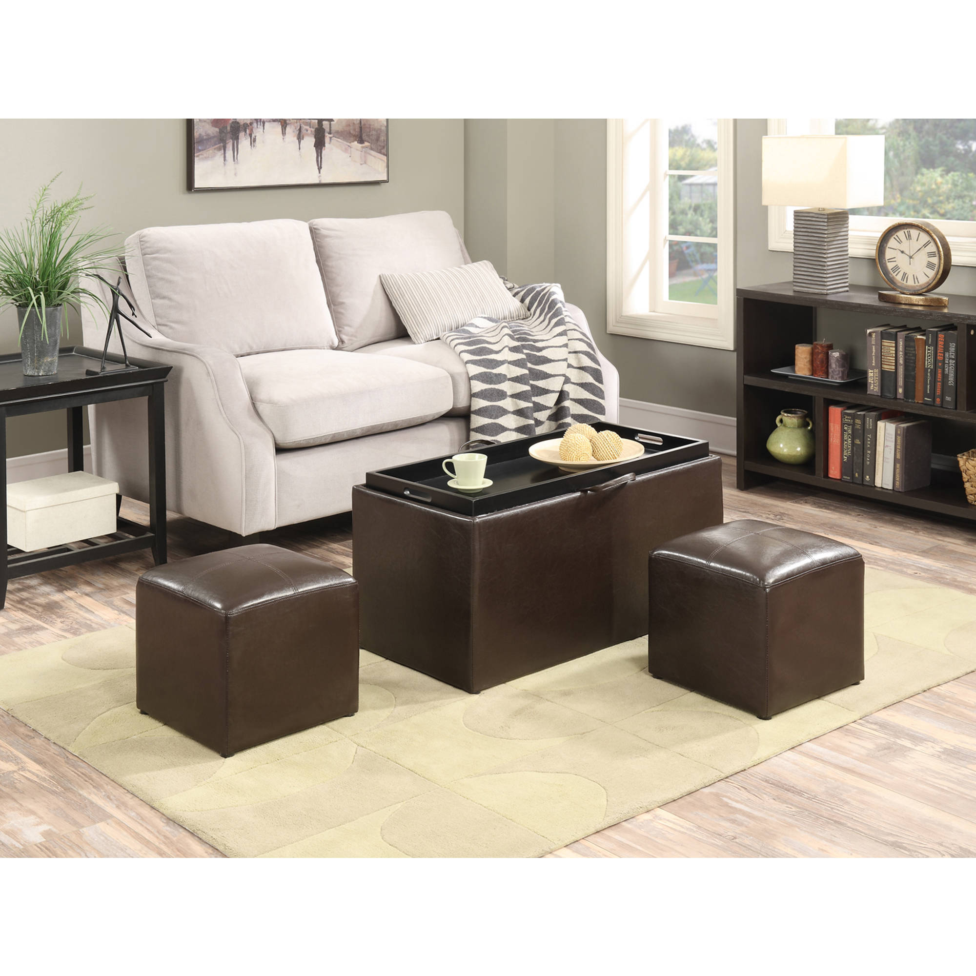 faux leather storage bench with 2 side ottomans multiple colors