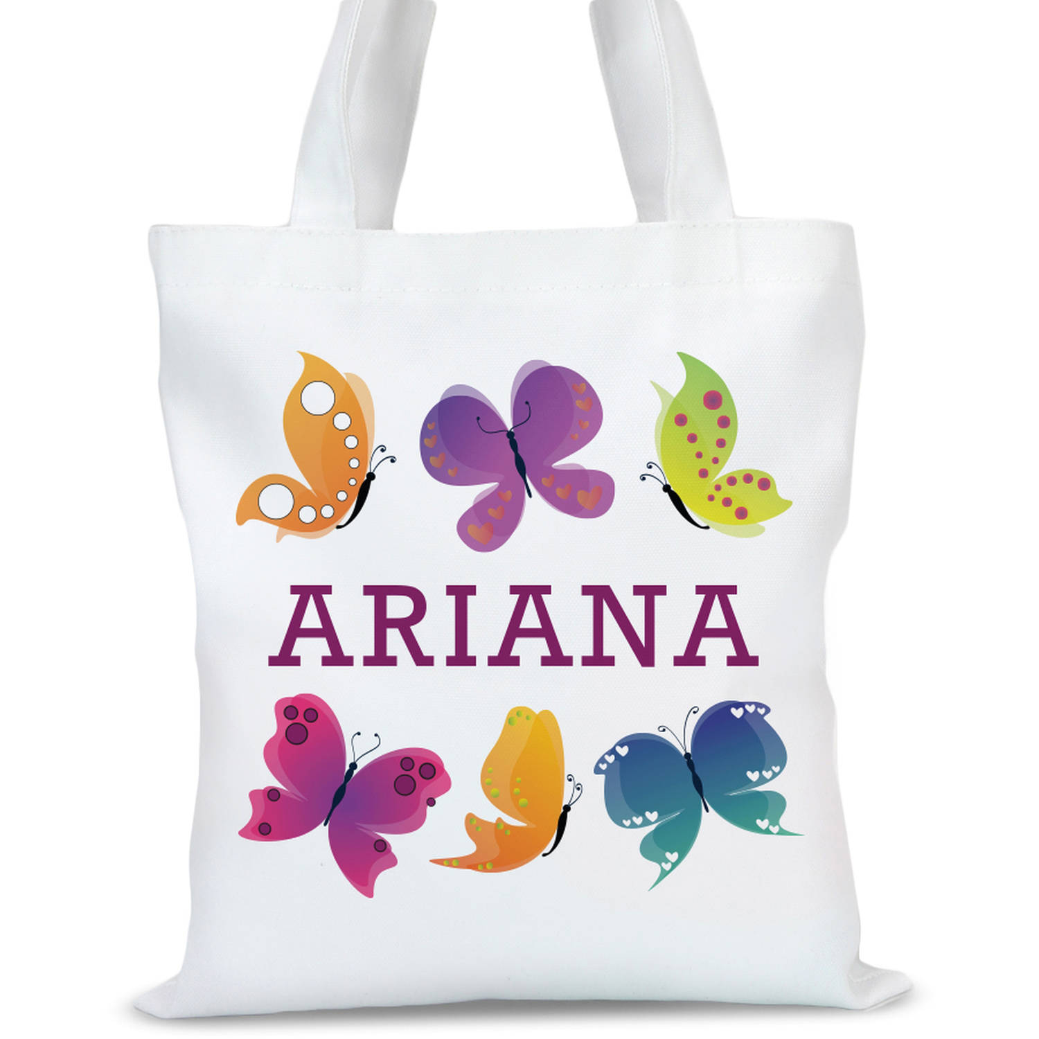 """Custom Butterfly Kids Tote Bag, Sizes 11"""" x 11.75"""" and 15"""" x 16.25"""""""