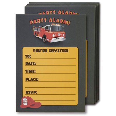 50s Themed Invitations (Fire Truck Invitation Cards - 24 Fill-in Invites with Envelopes for Kids Birthday Bash and Theme Party, 5 x 7 Inches, Postcard)