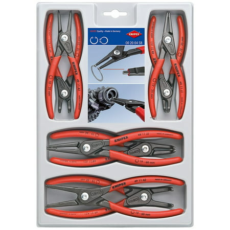 KNIPEX Tools 00 20 04 SB, Precision Circlip Snap-Ring Pliers Set, (Knipex Snap Ring)
