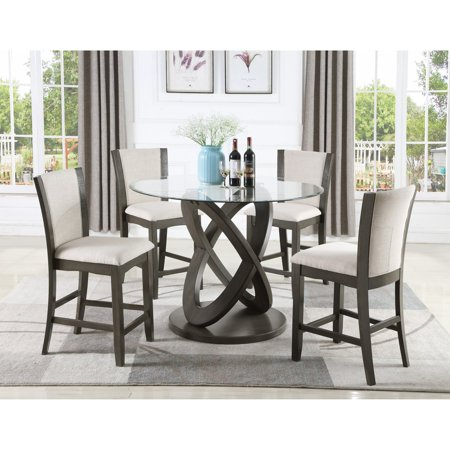 Fantastic Roundhill Furniture Cicicol 5 Piece Round High Back Fabric Counter Height Dining Table Set Short Links Chair Design For Home Short Linksinfo