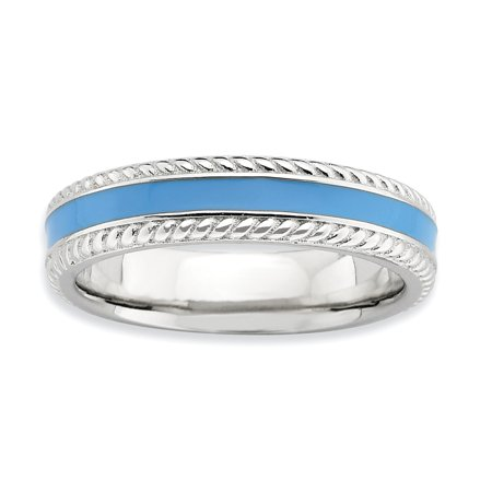 Sterling Silver Stackable Expressions Polished Blue Enameled Ring Size 5 - image 3 of 3