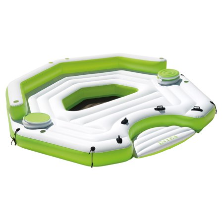 Intex Inflatable 6 Person Key Largo Party Island Float With Built In Coolers