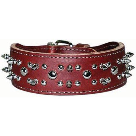 """Latigo Leather 23"""" Spike & Stud Dog Collar"""