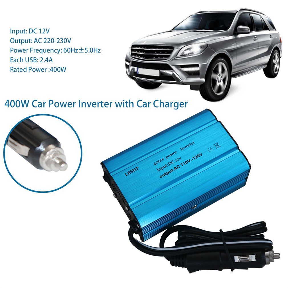 ACEHE 400W Car Power Inverter DC 12V to 220-230V AC Dual USB Ports Converter