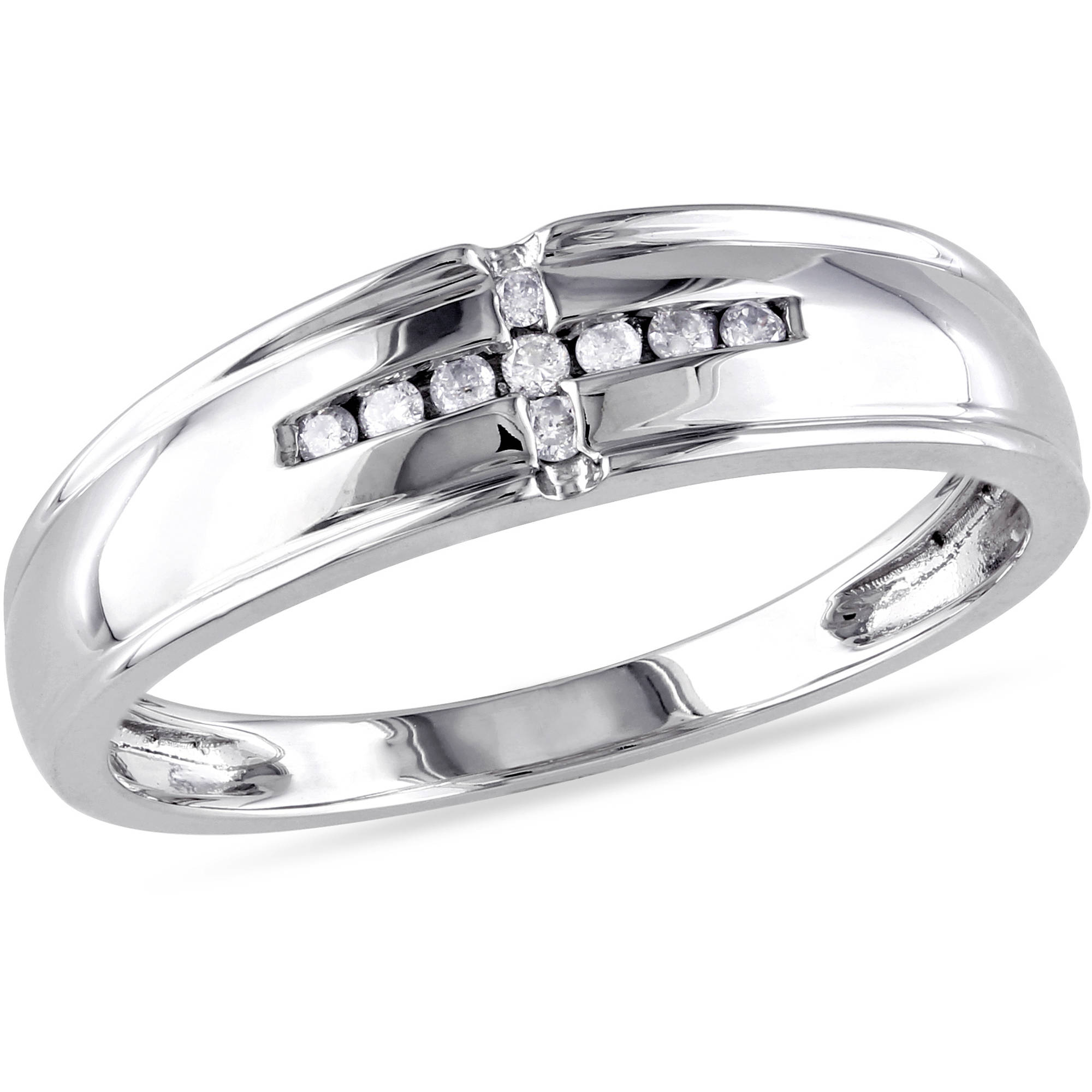 Diamond-Accent Wedding Band in 10kt White Gold
