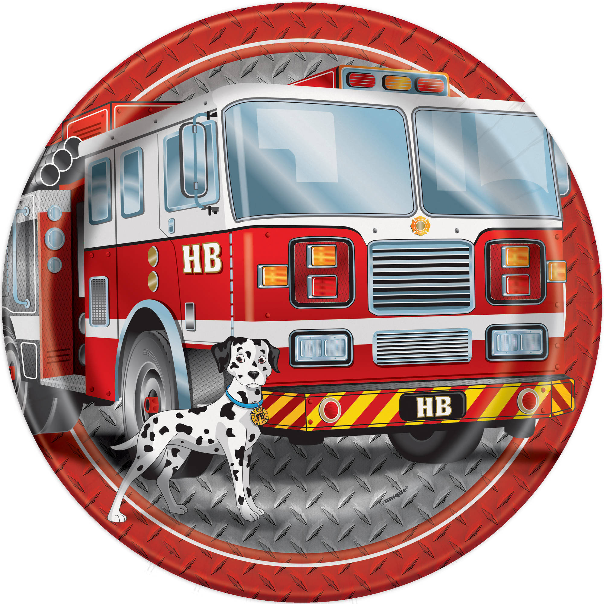 "9"" Firefighter Birthday Party Plates, 8ct"