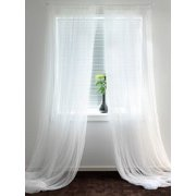 Solid Pure White Sheer Voile Window Curtain In 108