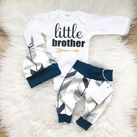 Newborn Baby Boys Infant Little Brother Romper + Long Pants Outfits Clothes Sets (Prince Outfit For Baby Boy)
