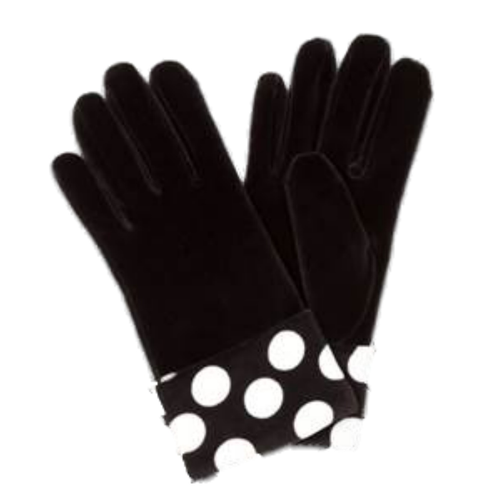 Fownes Womens Black & White Velvet Polka Dot Cuffed Gloves