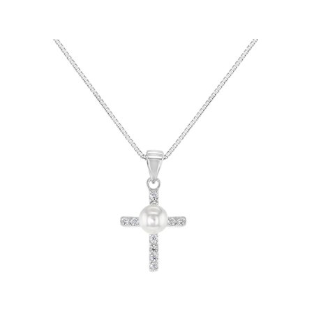 925 Sterling Silver CZ Simulated Pearl Cross Baby Kids Christening Necklace 16""