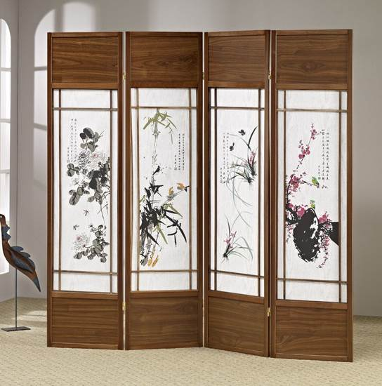 Chinese Floral Painting Shoji Room Divider Screen Walmartcom
