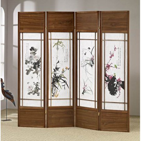 Chinese Floral Painting Shoji Room Divider Screen
