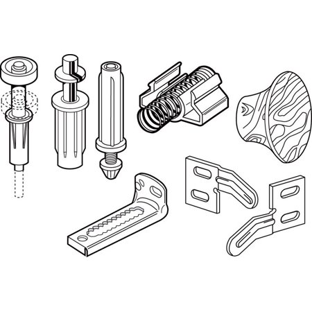 Slide-Co 164183 Bi-Fold Door Repair Kit, For 7/8 in. Wide Track, Used with 3/8 in. Outside Diameter Pivots & Guides Bi Fold Door Track