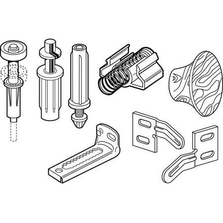 Slide-Co 164183 Bi-Fold Door Repair Kit, For 7/8 in. Wide Track, Used with 3/8 in. Outside Diameter Pivots & (Bi Fold Door Track)