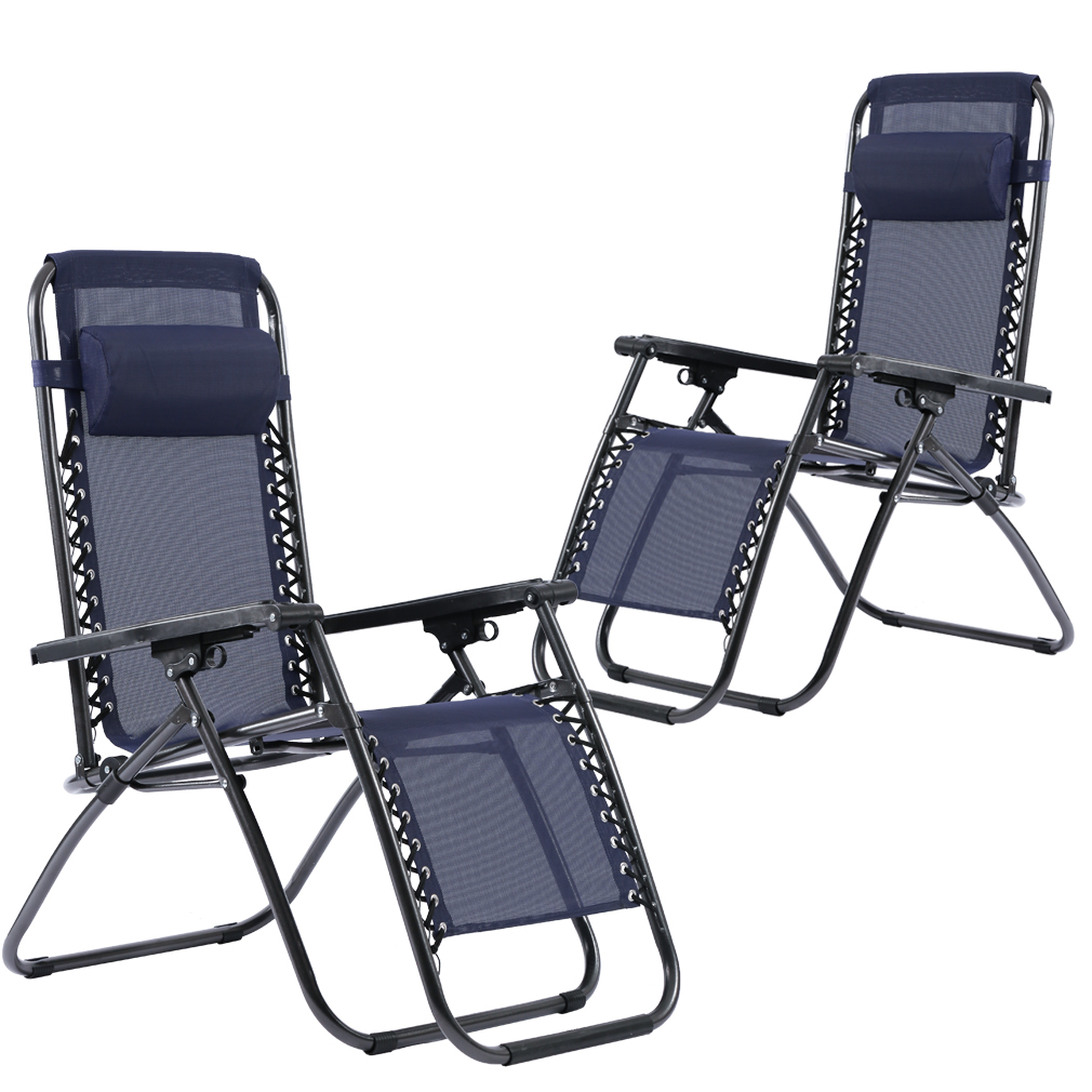 Outdoor Zero Gravity Chairs with Adjustable Pillow, 2 Pack, Blue