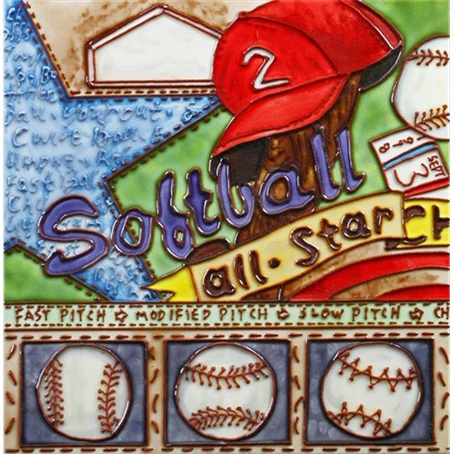 En Vogue B-285 Sport - Softball - Decorative Ceramic Art Tile - 8 inch x 8 inch