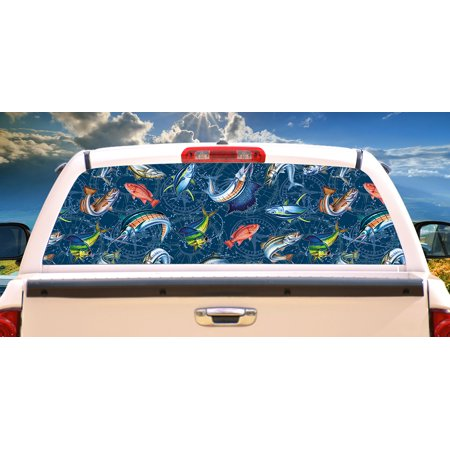 Saltwater Compass  Rear Window Graphic truck view thru vinyl decal back Window Decal Graphics