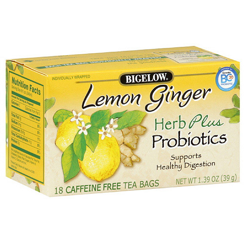 Bigelow Herb Plus Lemon Ginger Tea, 18ct (Pack of 6)