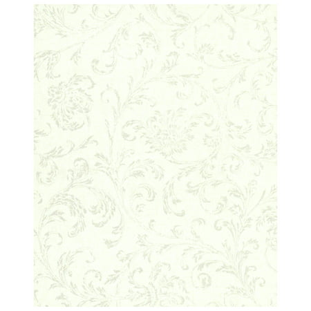 Delicate Scroll Wallpaper - White and Silver ()
