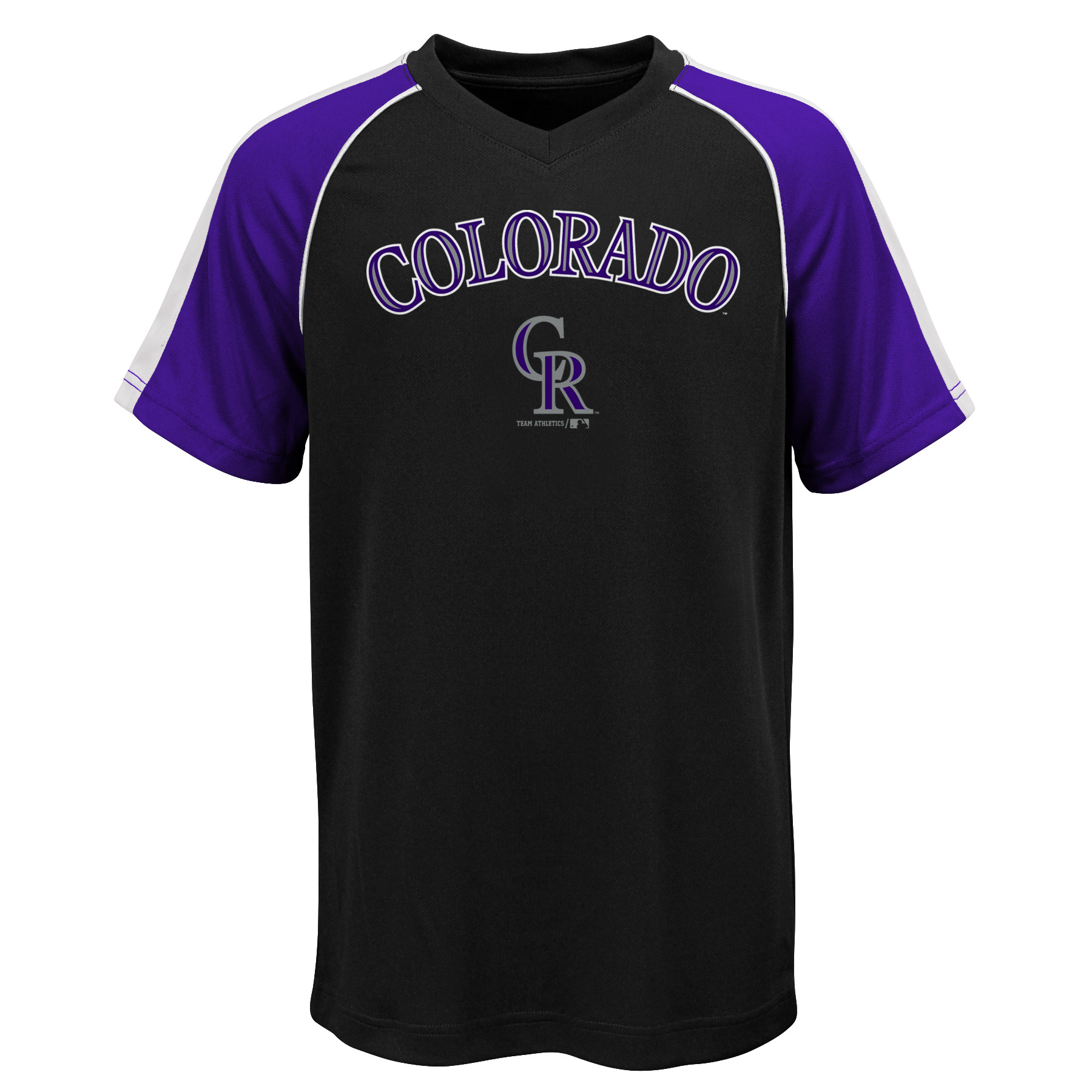 MLB Colorado ROCKIES TEE Short Sleeve Boys Fashion Jersey Tee 100% Polyester Pin Dot Mesh Jersey Team Tee 4-18