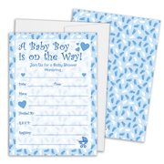 Blue Boy Baby Shower Invitations with White Envelopes, 25 Count