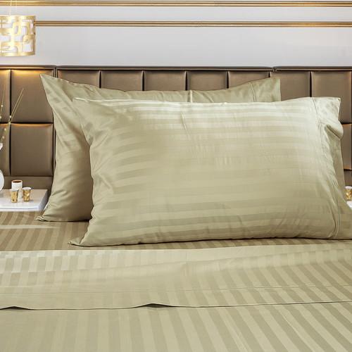 Image of Damask Stripe 100% Supima Cotton 500 Thread Count Hotel Quality Supima Luxury Cotton Sateen Deep Pocket Super Soft Sheet Set, Ki