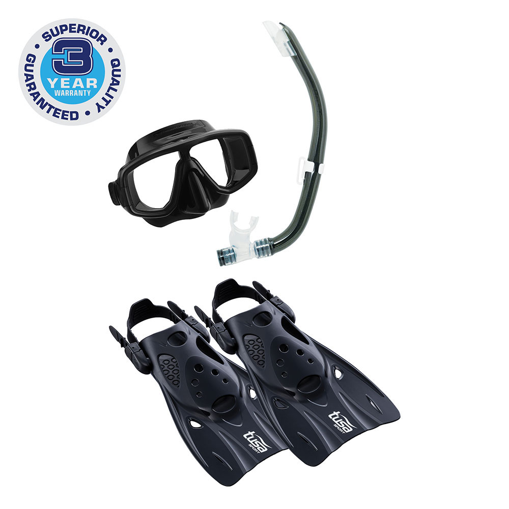 TUSA Sport Adult Platina Hyperdry Mask, Snorkel, & Fin Travel Set by Tabata USA, Inc.