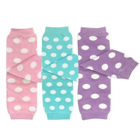 Aqua Pastel (Wrapables® Baby 3-Pair Leg Warmers O/S Pastel Dots in Pink, Aqua, Lavender )