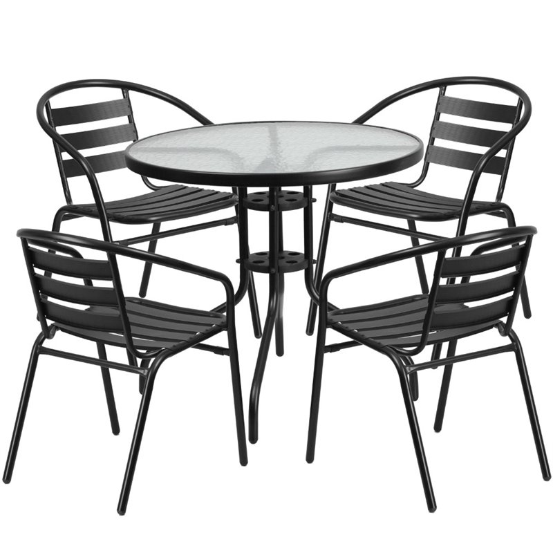 Bowery Hill 5 Piece Round Patio Dining Set in Black