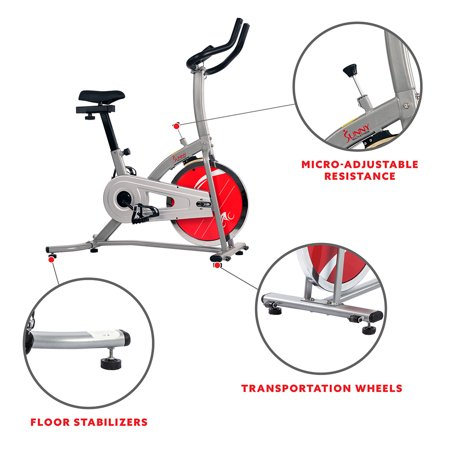 Sunny Health & Fitness Indoor Cycling Stationary Exercise Bike with Digital Monitor and 22 LB Flywheel - SF-B1203
