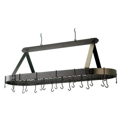 Satin Nickel Oval Hanging Pot Rack with Grid & 24 Hooks
