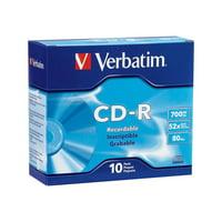 VERBATIM CD-R BRAND SLVR 10pk 700MB/52X SLIM CASE