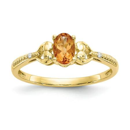 10K Citrine Diamond Ring / Diamond Ctw. 0.01, Gem Ctw.0.35 Ctw Citrine Ring