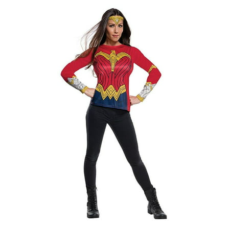 Justice League Womens Wonder Woman Adult Superhero Costume Top Shirt - Adult Wonder Woman Halloween Costume