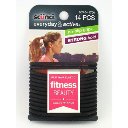 Scunci No Slip Grip Everyday & Active Black Gel Hair Elastics - 14 Pcs.