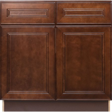Everyday cabinets 36 inch cherry mahogany brown leo saddle for Kitchen cabinets 36 x 42