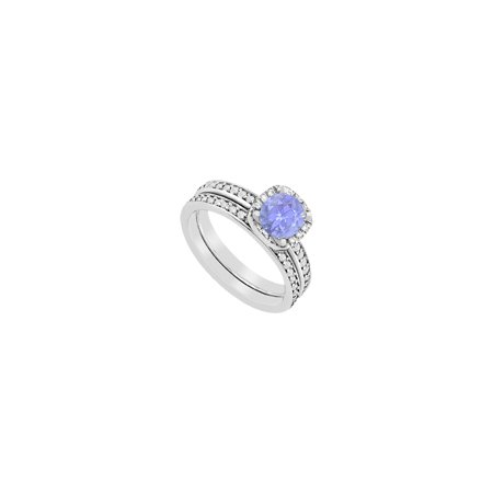 Created Tanzanite Halo Engagement ring with CZ Wedding Band Sets of 1.50 CT in 14K White Gold - image 2 de 2