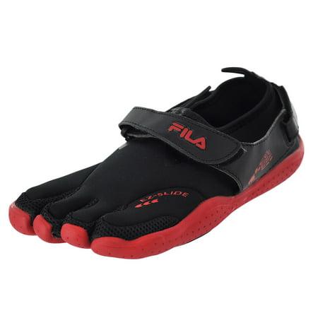 Fila Skele-Toes Ez Slide Drainage Black/Red/Castlerock Mens Water Sports Size (Mens Fila Sport Fleece 2-0 Jogger Pants)