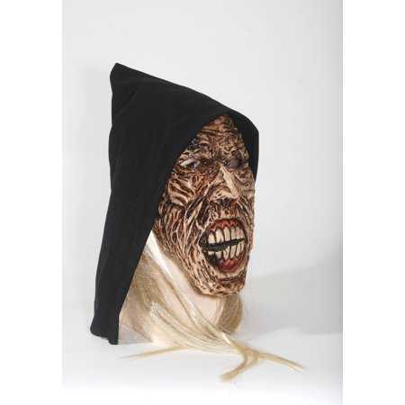 Loftus Fleshless Zombie Man Mask w White Hair & Black Hood - OS